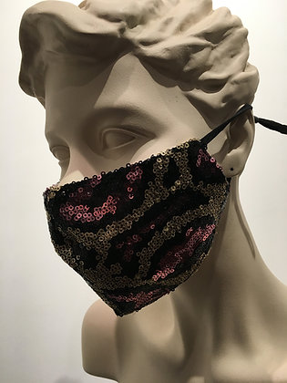 Masque paillettes rose et or