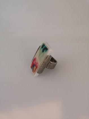ANNE-MARIE CHAGNON - Bague céramique rectangulaire colorée