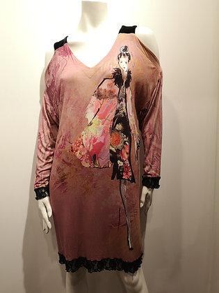 VÉRONIQUE D'ARAGON - robe manches longues, épaules nues - XL