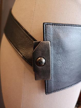 SARAH PACINI, ceinture cuir gris acier, taille unique