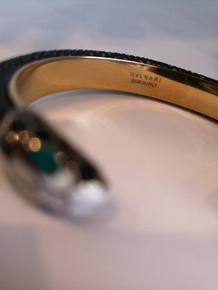 BULGARI - Bracelet Or-émail-galuchat noir