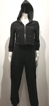 Jump Suit noir avec capuche - L