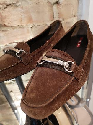 PRADA - Soulier plat cuir brun - 6