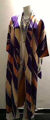 Kimono long 100% soie motifs bambous