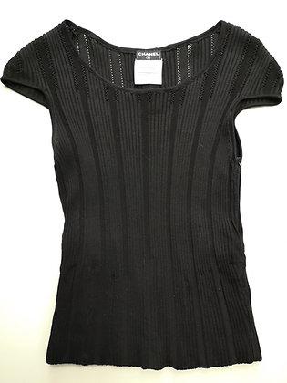 CHANEL  - t-shirt corset  noir en mailles coton - 36