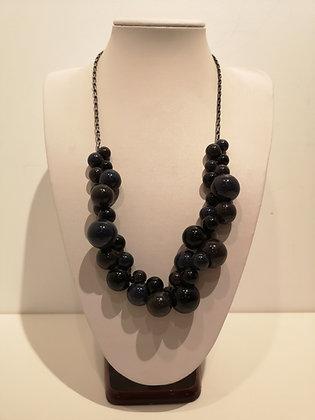 Collier boules noir/gris sur chaîne