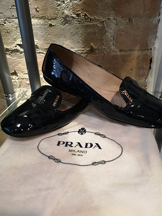 PRADA - Soulier plat, cuir verni bleu marine - 6 1/2