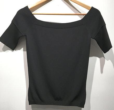 GIVENCHY - T-Shirt col évasé maille noire - M