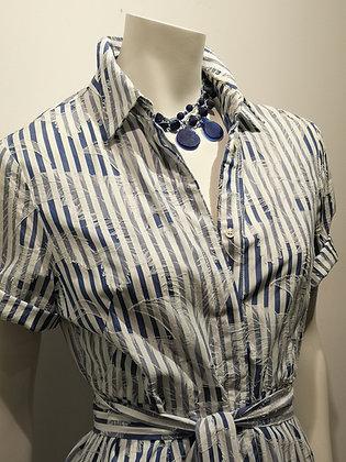 AGLINI - Robe rayée bleu/blanc coton - 10