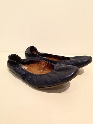 LANVIN - Ballerine cuir bleu métallique - 38