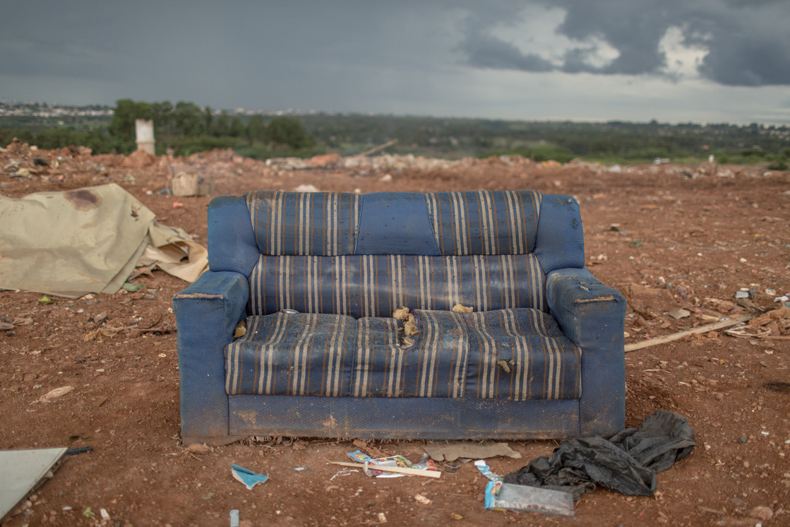A couch can serve as a comfortable rest during the exhaustive day of work at the Estrutural dump in Brasilia, on Monday, Jan. 15, 2018. The dump is surrounded by the Estrutural neighborhood, where 35,000 people live. Estrutural, the largest waste dump in Latin America is shutting down in Brasilia for sanitary reasons, upending the livelihood of thousands of garbage recyclers.