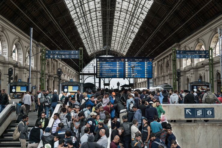 Keleti Train Station at Budapest, 8th - 9th of September - Long queues of refugees waiting to board trains to Viena, Austria.