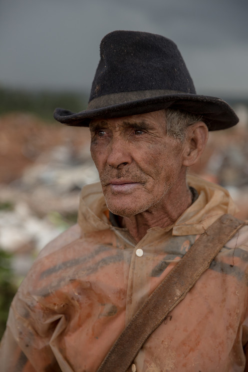 Sebastiāo Nunes, 61, has worked at the Estrutural dump for 15 years, in Brasilia, on Monday, Jan. 15, 2018. He earns his income from recycling at the dump, the largest in Latin America. . Plastic bottles are sold around 30 cents of a dollar per kilo at the Estrutural dump in Brasilia.