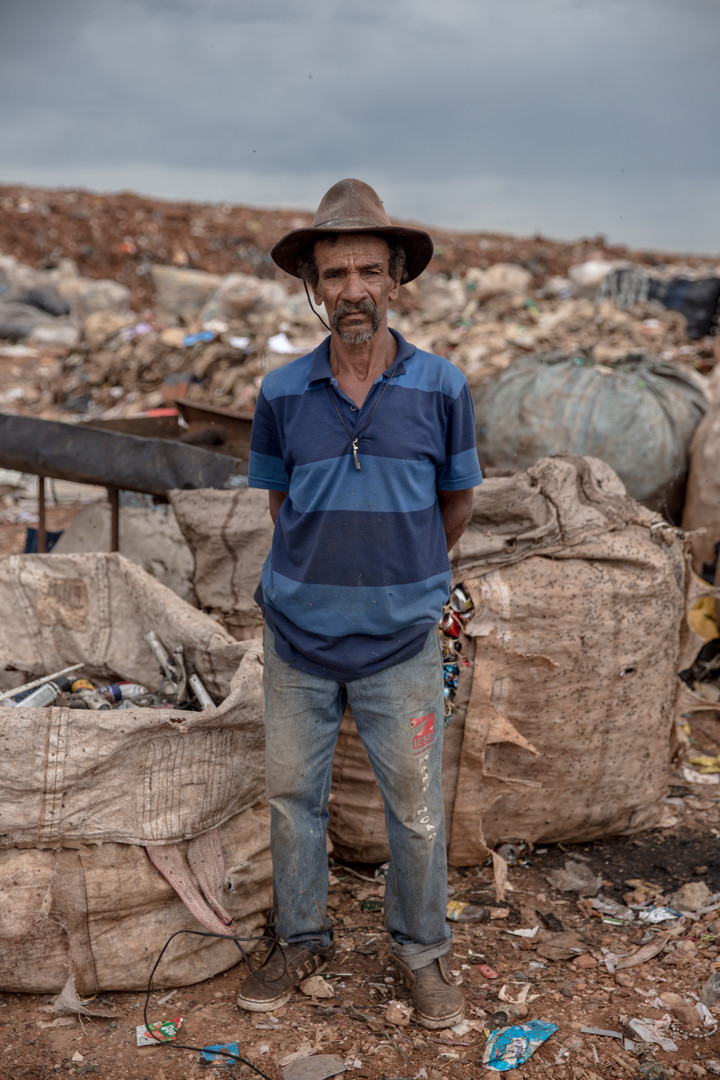 José Francisco Rocha, 64, just started working at the Estrutural dump three months ago. He collects from plastic bottles, cans to electronic waste.The dump is shutting down in Brasilia for sanitary reasons, upending the livelihood of thousands of garbage recyclers.