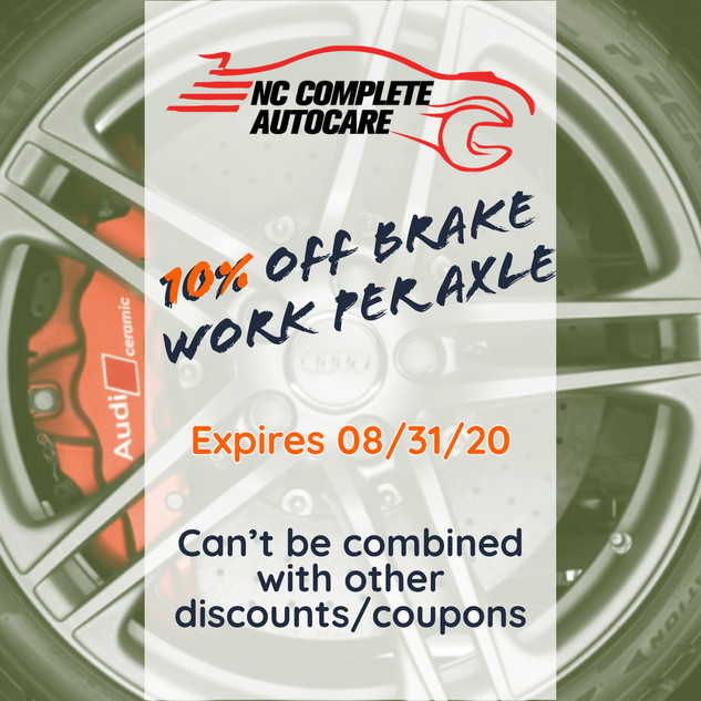 10% off brake work per axle
