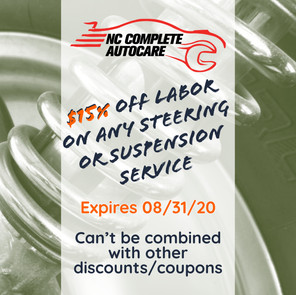 15% off labor on any steering or suspention service