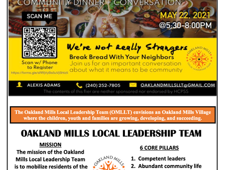 Latest News from the Oakland Mills Local Leadership Team (OMLLT)