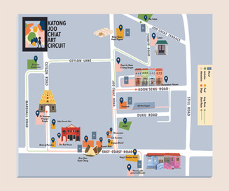 An illustrated map design for Katong Joo Chiat Art Circuit, a trail that aims to revitalize Katong Joo Chiat by showcasing its many food and retail highlights, and murals painted specially for the trail.