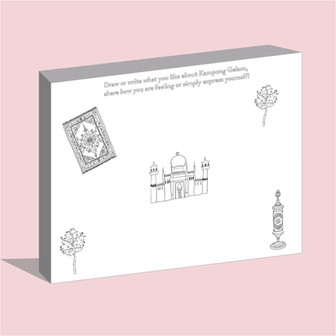 Mobile colouring wall: a wall for event visitors to write and draw on, with built on compartments for easy storage of stationery and lockable wheels for mobility.