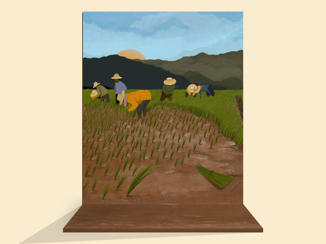 Photobooth Backdrop: a wooden backdrop that depicts a scene for a trickeye effect when taking photos.