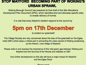 Last Chance to Comment about the Loss of Greenbelt in Mayford