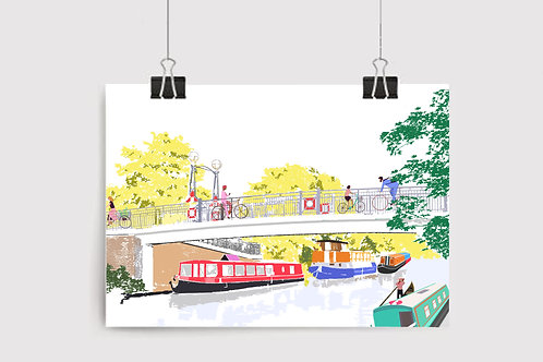Art Prints, Personalized Art Print, Handmade, Unique Gifts, Gift for Her, London City Art, Little Venice, North London Art