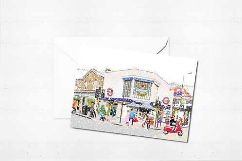 Njeri Illustrated Christmas Greeting Card Balham Tube Station South London Transport City Scene Art Illustration