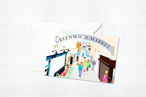 Njeri Illustrated Greeting Cards Greenwich Market London City Scene Art Illustration