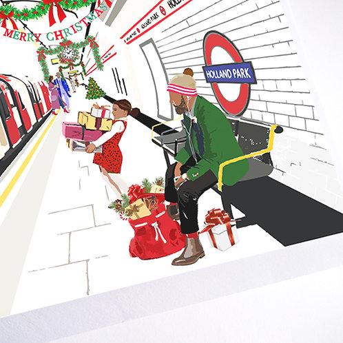 Njeri Illustrated Christmas Holiday Greeting Card Holland Park Tube Station Transport London City Art Illustration
