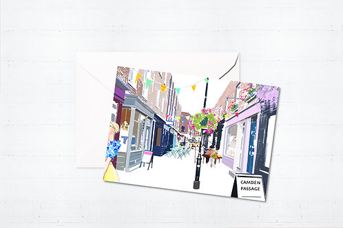 Njeri Illustrated Greeting Card Camden Passage London City Scene Art Illustration