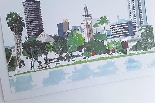 Njeri Illustrated Greeting Card Nairobi Skyline Kenya City Scene African Art Illustration