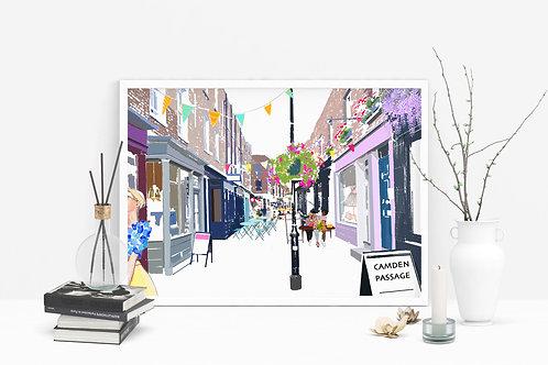 Camden Passage Art Print, Personalized Gift, Bespoke Art, Birthday Gift, London Art, Letterbox Gift, For Him, For Her