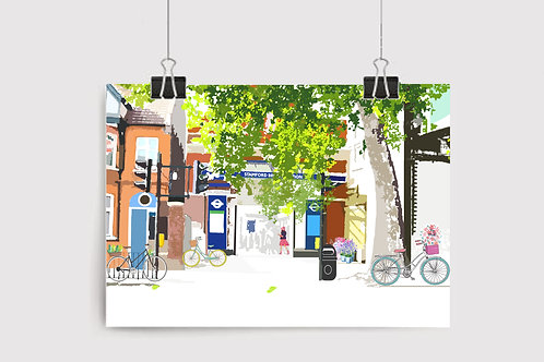 Art Prints, Personalized Art Print, Handmade, Unique Gifts, Gift for Her, London City Art, Stamford Brook Station, Chiswick
