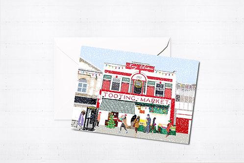 Njeri Illustrated Christmas Greeting Card Tooting Market South London City Scene Art Illustration
