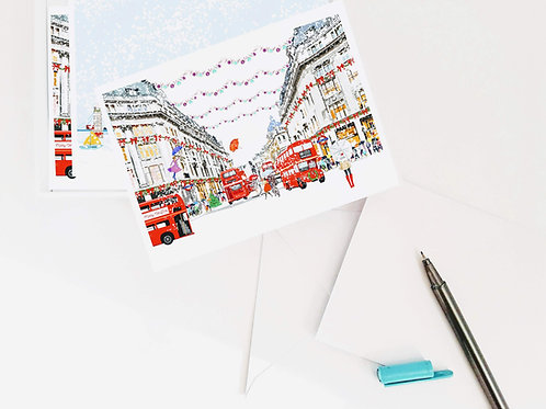 Njeri Illustrated Notecard Box Note Post Card Postcard Christmas Colourful Gift Present London City Scene Art Illustration