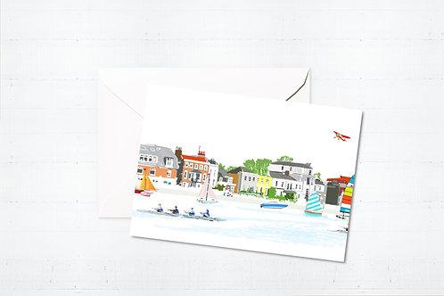 Njeri Illustrated Greeting Card Barnes Riverside London Barnes Richmond Scene Art Illustration