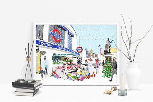 Christmas Art Prints, Handmade, Wall Art, London Art, Holiday Print, Thinking of You, Personalized Gift, Christmas Gift