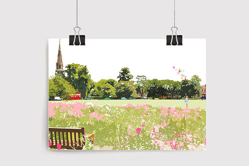 Art Prints, Personalized Art Print, Handmade, Unique Gifts, Gift for Her, Gift for Him, London Art, Chiswick, Turnham Green