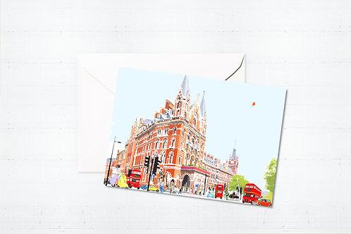Njeri Illustrated Greeting Card St Pancras London City Scene Art Illustration