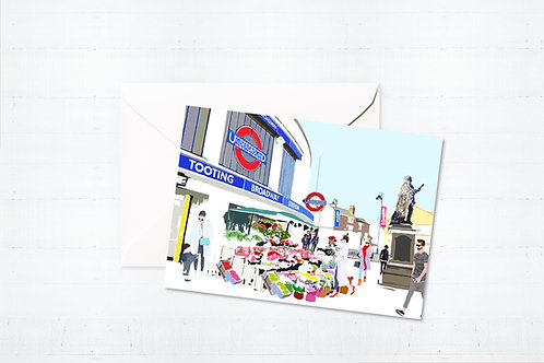 Njeri Illustrated Greeting Card Tooting Broadway Station South London City Scene Art Illustration