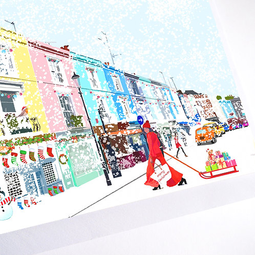 Njeri Illustrated Christmas Holiday Card Portobello Road Art Illustration