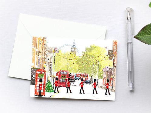 Njeri Illustrated Christmas Holiday Greeting Card Royal Guard London City Art Illustration