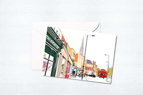 Njeri Illustrated Greeting Card Stoke Newington Church Street Hackney London City Scene Art Illustration