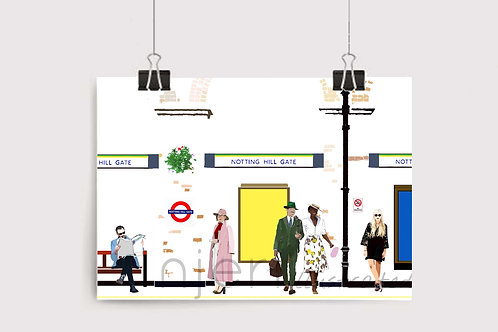Art Prints, Personalized Art Print, Handmade, Unique Gifts, Gift for Him and Her, London Art, Notting Hill Gate Station