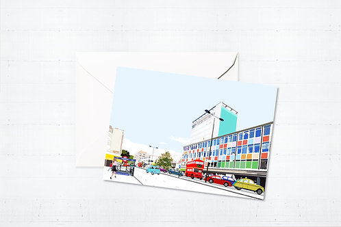 Njeri Illustrated Greeting Card Notting Hill Gate London City Scene Art Illustration