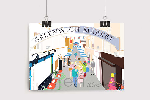 Art Prints, Personalized Art Print, Handmade, Unique Gifts, Gift for Him and Her, London Art, Greenwich Market, Greenwich