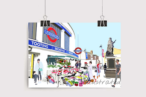 Art Prints, Personalized Art Print, Handmade, Unique Gifts, Gift for Him and Her, London City Art, Tooting Broadway Station