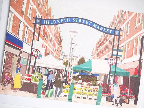 Njeri Illustrated Greeting Card Hildreth Street Market Balham South London City Scene Art Illustration