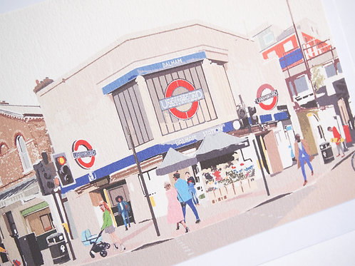 Njeri Illustrated Greeting Card Balham Tube Station South London Transport City Scene Art Illustration