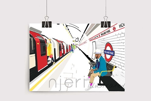 Art Prints, Personalized Art Print, Handmade, Unique Gifts, Gift for Him and Her, London Art, Holland Park, Train Station